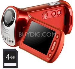 HMX-T10 Orange Full HD Camcorder with 4 GB SDHC Card, 10x Optical Zoom