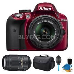 D3300 DSLR HD Red Camera, 18-55mm Lens, 55-300mm Lens and Case Bundle