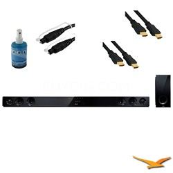 280W 2.1ch Sleek Sound Bar with Wireless Subwoofer Plus Hook-Up Bundle - NBN36