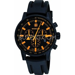 Men's Swiss Raid Commando Watch - Black and Orange Dial/Black Rubber Strap