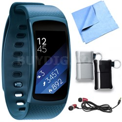 SM-R3600ZBNXAR Gear Fit2 Smartwatch with Small Band - Blue Bundle
