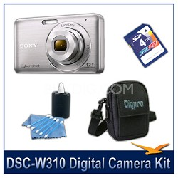 DSC-W310 Digital Camera (Silver) with 4GB Card, Case, and More