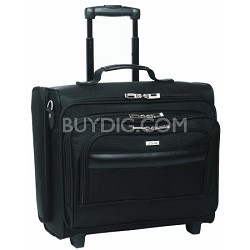 Dual-Access Rolling Overnighter Laptop Case, Black, 15.6""