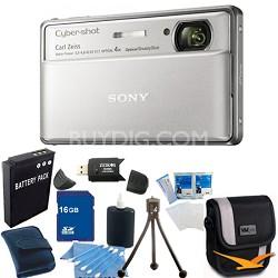 Cyber-shot DSC-TX100V Silver Digital Camera 16GB bundle