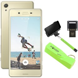 "Xperia X 32GB 5"" Smartphone Unlocked Mobile Selfie Bundle - Lime Gold"