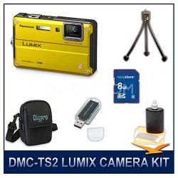DMC-TS2Y LUMIX 14.1MP Digital Camera (Yellow), 8GB SD Card, and Camera Case