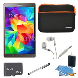 "Galaxy Tab S 8.4"" Tablet - (16GB, WiFi, Titanium Bronze) 32GB Accessory Bundle"
