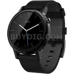 360 Smart Watch for iPhone and Android - 42 mm Black Leather Stainless Steel