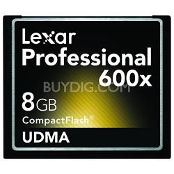 Professional 600x Compact Flash 8 GB Memory Card