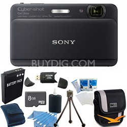 "Cyber-shot DSC-TX55 Black Slim Digital Camera 3.3"" OLED Touchscreen w/ 8GB Kit"