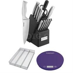 15pc Stainless Steel Hollow Handle Cutlery Block Set w/ Kitchen Bundle