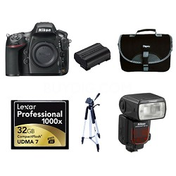 D800 36.3 MP CMOS FX-Format Digital SLR Camera with SB910 and 32GB Deluxe Bundle