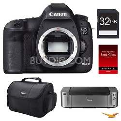 5D Mark II DSLR Camera (Body), 32GB, Printer Bundle