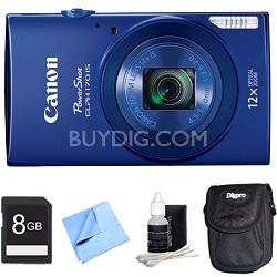 PowerShot ELPH 170 IS 20MP 12x Opt Zoom Digital Camera - Blue 8 GB Bundle
