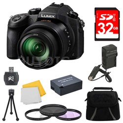 LUMIX FZ1000 4K QFHD/HD 16X Long Zoom Digital Camera 32GB Bundle (Black)