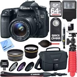 EOS 70D CMOS DSLR Camera w/EF-S 18-55mm F3.5-5.6 IS STM Memory & Flash Kit