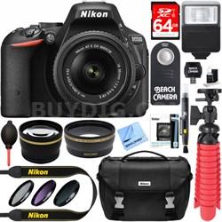 D5500 DSLR Camera with AF-S 18-55mm VR II Lens + Accessory Bundle (Black)
