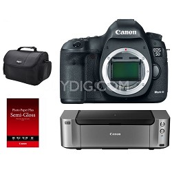 EOS 5D Mark III DSLR Camera Body + Pro 100 Printer / Paper / Gadget Bag