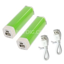 2600mAh Battery Bank Charger with Micro-USB Charging Cable - 2 Pack Green