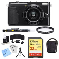 X-70 X Series Black Digital Camera with 18.5mm Lens, 32GB Card, and Case Bundle