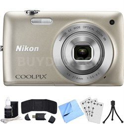 COOLPIX S4300 16MP Digital Camera with Touchscreen (Silver) Refurbished Bundle