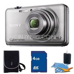 Cyber-shot DSC-WX9 Silver Digital Camera 4GB Bundle