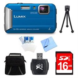 LUMIX DMC-TS30 Active Tough Blue Digital Camera 16GB Bundle
