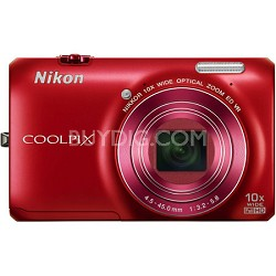 COOLPIX S6300 16MP Digital Camera with 10x Optical Zoom (Red) Refurbished