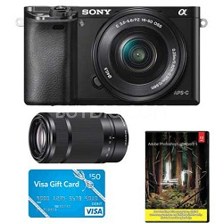 Sony Alpha a6000 ミラーレス一眼レフ w/16-50mm Lens & 55-210mm Lens + $50 Visa Gift Card + Adobe Photoshop Lightroom 5