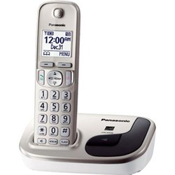 """1.6"""" LCD Cordless Phone in White with 1 Handset- KX-TGD210N"""