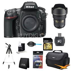 D800 36.3 MP CMOS FX-Format DSLR Camera with 14-24mm AF-S Pro Lens Bundle