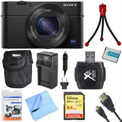 "DSC-RX100M IV Cyber-shot Digital Still 20.1 MP 1"" Sensor Camera 64GB Card Bundle"