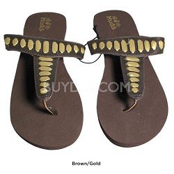 FOM277 Sandals Brown/Gold Size Medium