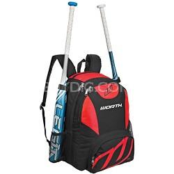 Baseball/Softball Equipment and Bat Backpack Bag, Scarlet