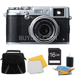 X100S 16MP Full HD 1080p Video Digital Camera 16GB Silver Kit