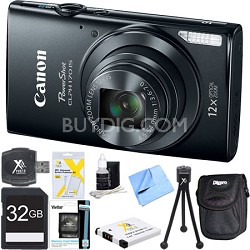 PowerShot ELPH 170 IS 20MP 12x Opt Zoom Digital Camera - Black 32 GB Bundle