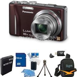 Lumix DMC-ZS10 14.1 MP Camera 16x Zoom Optical I.S. Lens w GPS Brown 16GB Bundle