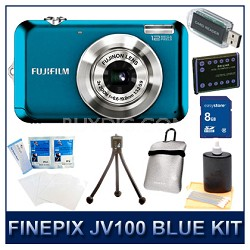 FINEPIX JV100 Blue + 8GB Memory Card + Card Reader + Case + Battery + More