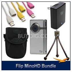 MinoHD 8GB Camcorder Case, Cables, Tripod and AC Adapter Bundle