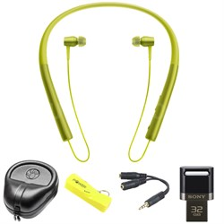 Wireless In-ear Bluetooth Headphones w/ NFC - Yellow w/ 32 GB Flash Drive Bundle