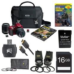 D5200 24.1MP DSLR Camera Kit w/ 18-55mm & 55-200mm  Red 4 Lens Ultra Pack