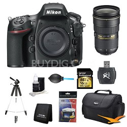 D800 36.3 MP CMOS FX-Format DSLR Camera AF-S 24-70mm f/2.8G ED Pro Lens Bundle