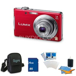 Lumix DMC-FH2 14MP Red Digital Camera w/ 720p 30 fps HD Video 4GB Bundle