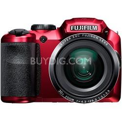 FinePix S6800 16 MP 30x Wide Angle Zoom Digital Camera - Red - OPEN BOX