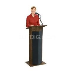 "Power Plus Floor Sound Lectern, 22"" Width x 46"" Height x 17"" Depth, Medium Oak"