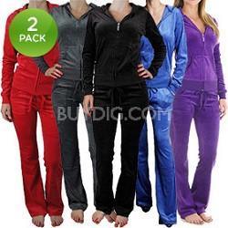 2-Pack Princess Fashion Women's Velour Tracksuit in Black/Blue (Large)