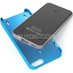Ecopak iPhone 5 Case -Snap-on Case and Detachable Battery (Silver/Blue)