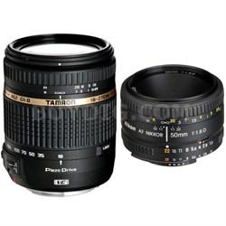 18-270mm f/3.5-6.3 Di II VC PZD IF Lens w/ 50mm f/1.8 D AF FS-52 Lens for Nikon