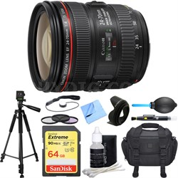 EF 24-70mm F/4L IS USM Standard Zoom Lens Deluxe Accessory Bundle