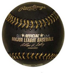 Official Major League Memorabilia Black Baseball with Gold Stitch